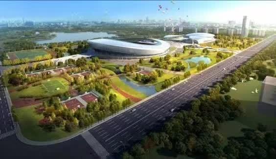泰州市体育公园项目位于城市中轴线,规划建于泰州市周山河街区园博