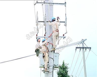 两根装载10千伏供电变压器的电线杆倾倒在河边