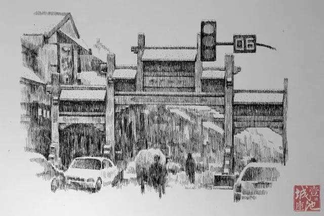 雨中税东街(手绘泰州 王鹏钢笔画)-1月16日新闻早餐