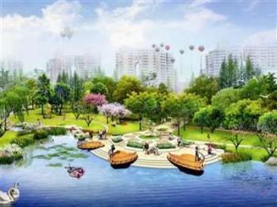 广场水体景观手绘