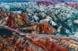 【视觉中国】天空之眼鸟瞰张掖丹霞七彩仙境景美如画